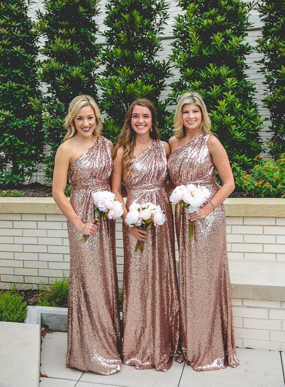 P253 Rose Gold Sequins Bridesmaid Dress, Long Bridesmaid Dress,2017 ...