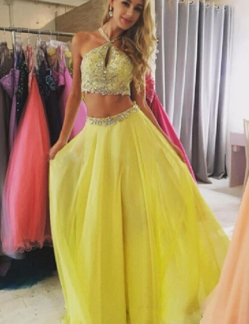 Two Pieces Prom Dress,Yellow Prom Dresses,Beading Prom Dress, Halter ...