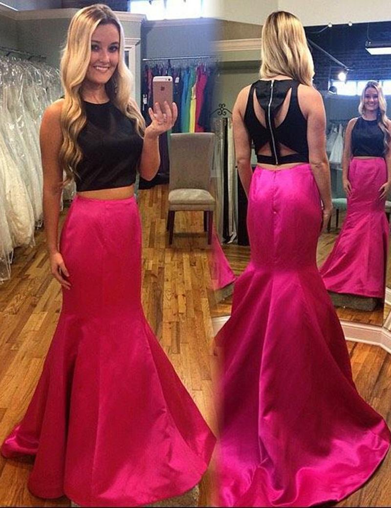 Rose Pink Prom Dress,Two Piece Prom Dresses,Mermaid Prom Dress ...
