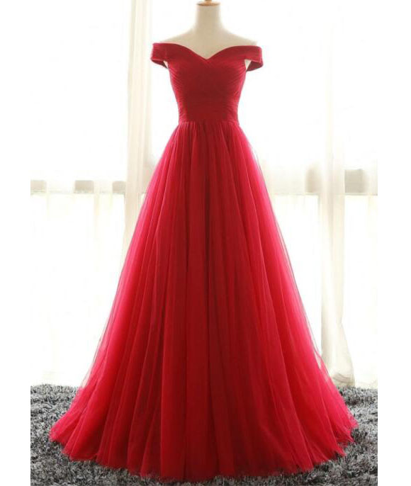Red Ball Gown Prom Dress,Princess Off The Shoulder Quinceanera Dress ...