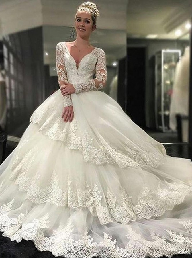 2017 Long Sleeve Wedding Dresses, Lace Ball Gown Bridal Dresses ...