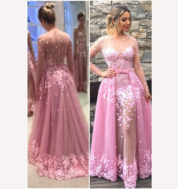 Pink prom dress,See-through prom dresses, Long Sleeve prom dress ...