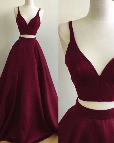 Burgundy Prom Dresses, Two Pieces Prom Dresses, Formal Dresses ...