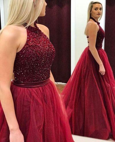 Halter Burgundy Prom Dresses, Tulle Prom Gowns, Formal Dresses ...