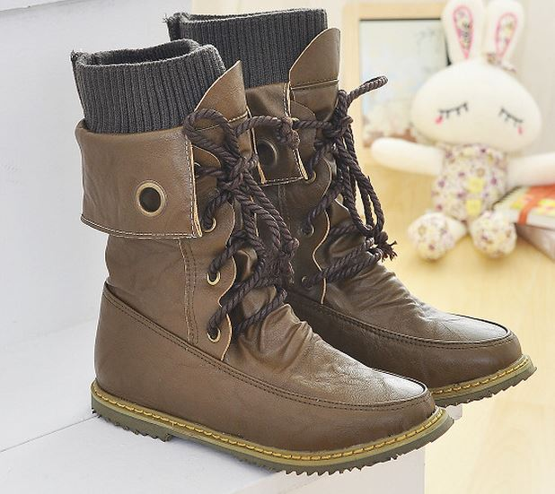 Fashion Lace up Women Motorcycle Winter Snow Boots(Freeship ...
