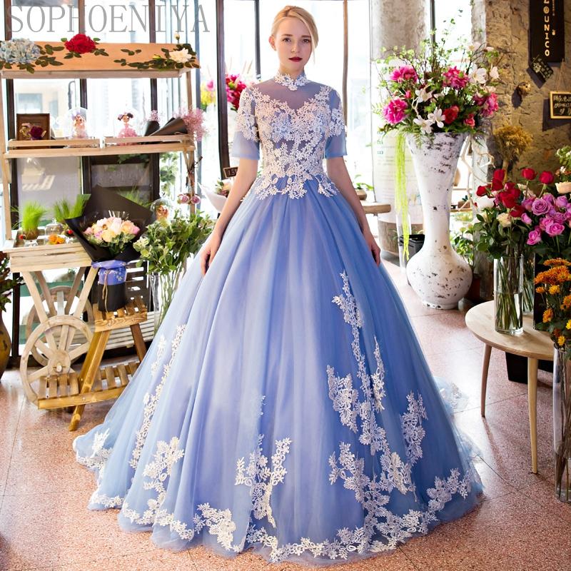 Blue Prom Dresses, Lace Evening Dresses, Sheer Crew Party Dresses ...