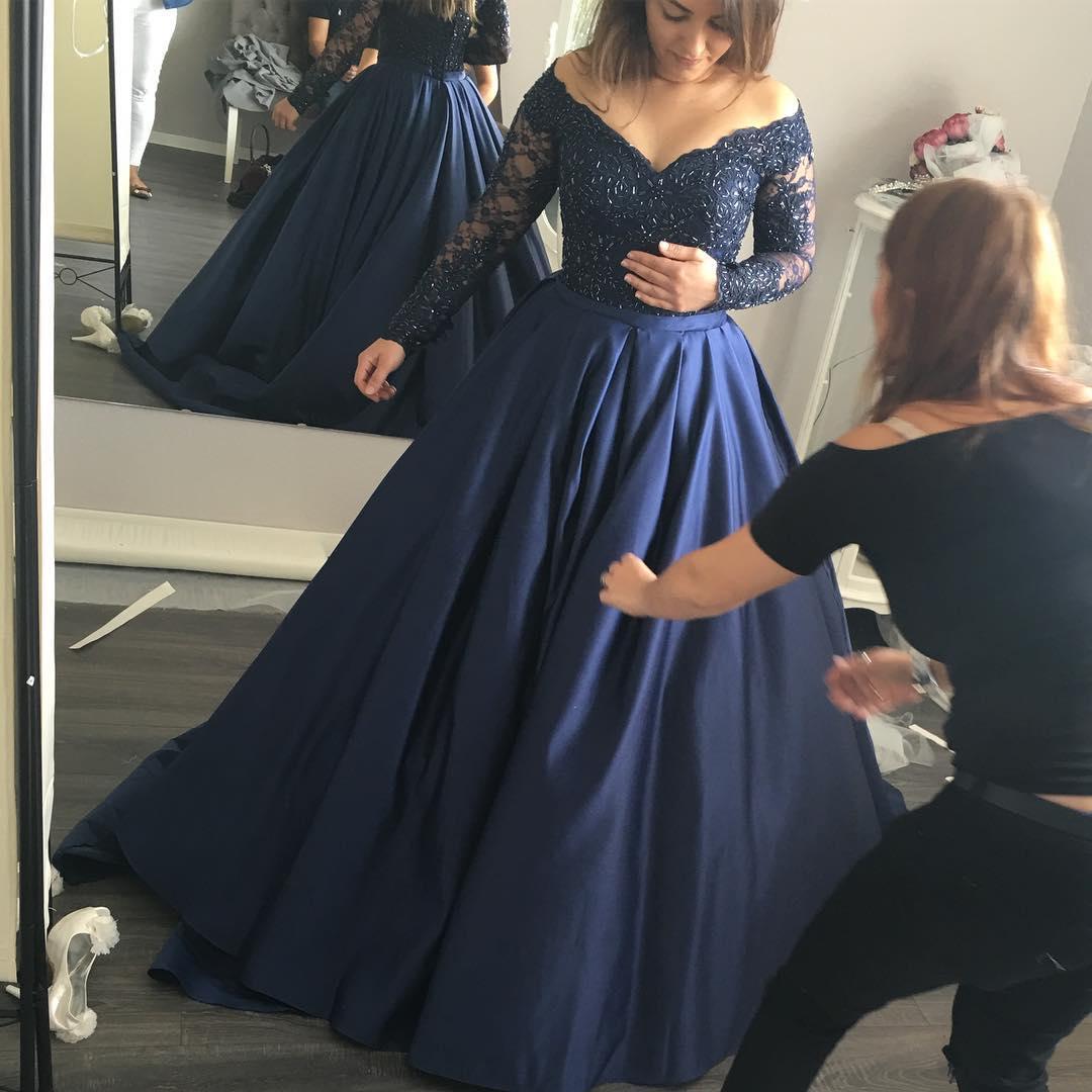 AM204 Gorgeous Long Sleeves Navy Blue Prom Dress, Navy Blue Ball ...