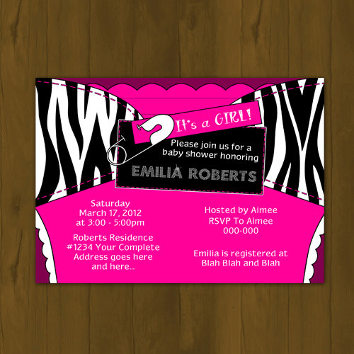 Hot pink and zebra stripes printed diaper baby shower printable hot pink and zebra stripes printed diaper baby shower printable invitations zebra invites filmwisefo