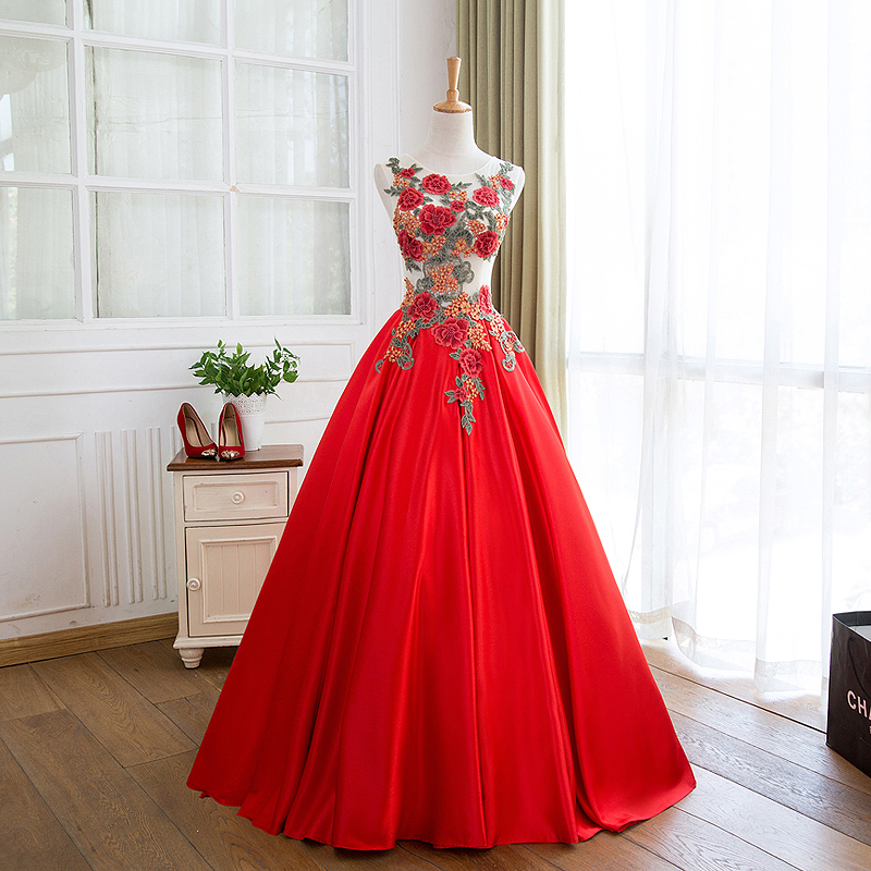 Red Floral Prom Dress