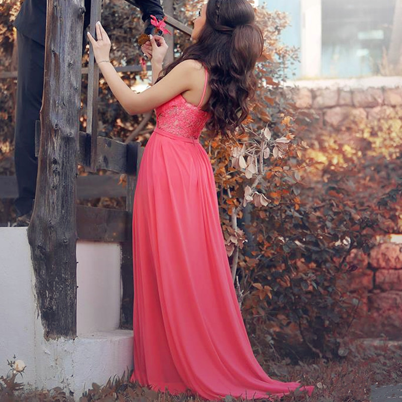 coral pink prom dress,chiffon evening dress,elegant evening gowns ...
