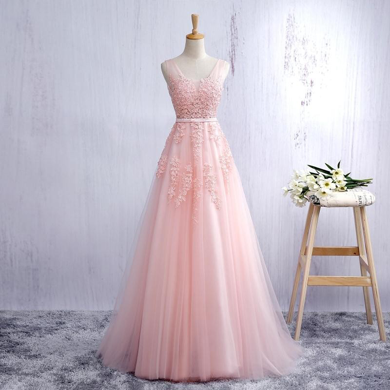Lace Appliqued Blush Pink Prom Dresses,Long Blush Pink Bridesmaid ...