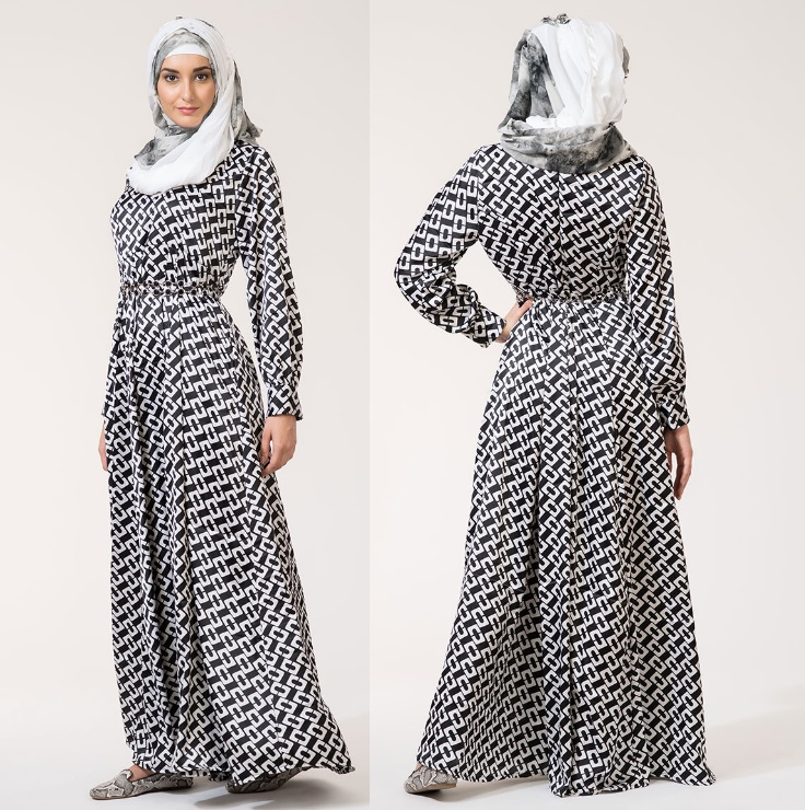Chain Link Black White Abaya Dress Hr Collezione Online Store