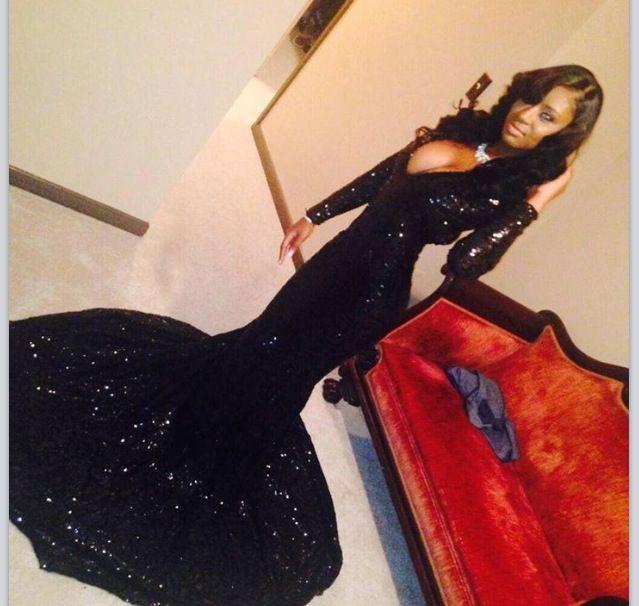 Glitter Black Sequins Prom Dresses Long Sleeves Mermaid Evening ...