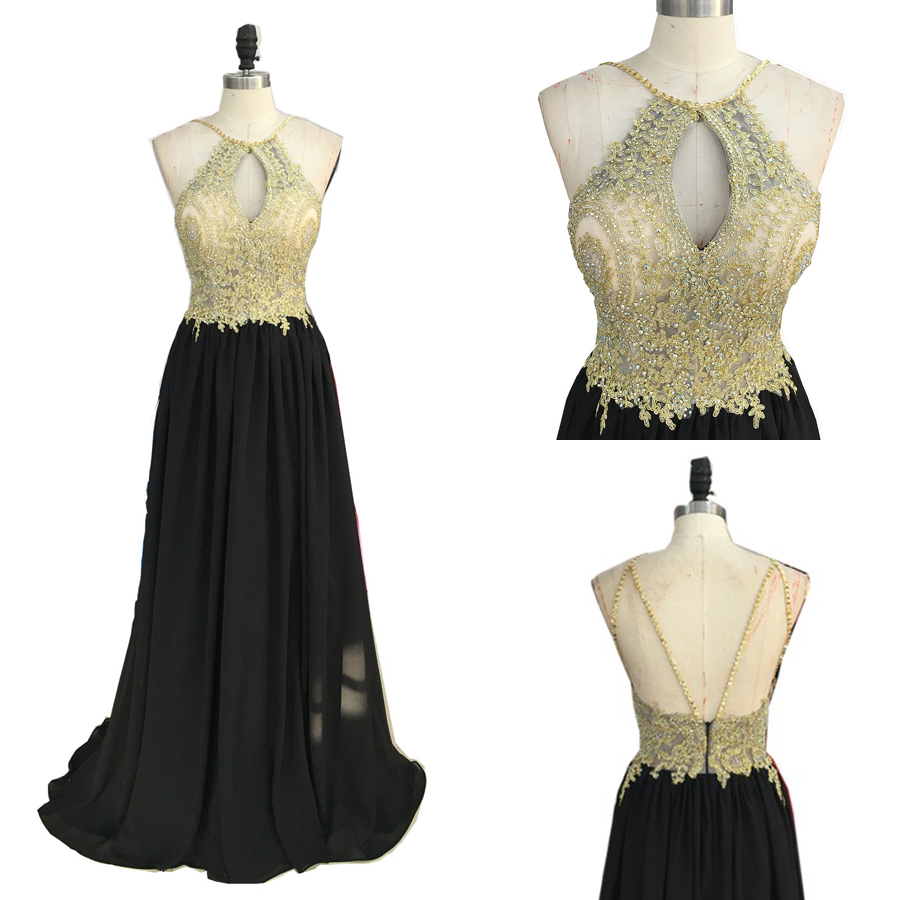 Gold Lace Appliqued Black Chiffon Prom Dresses,Halter Long ...