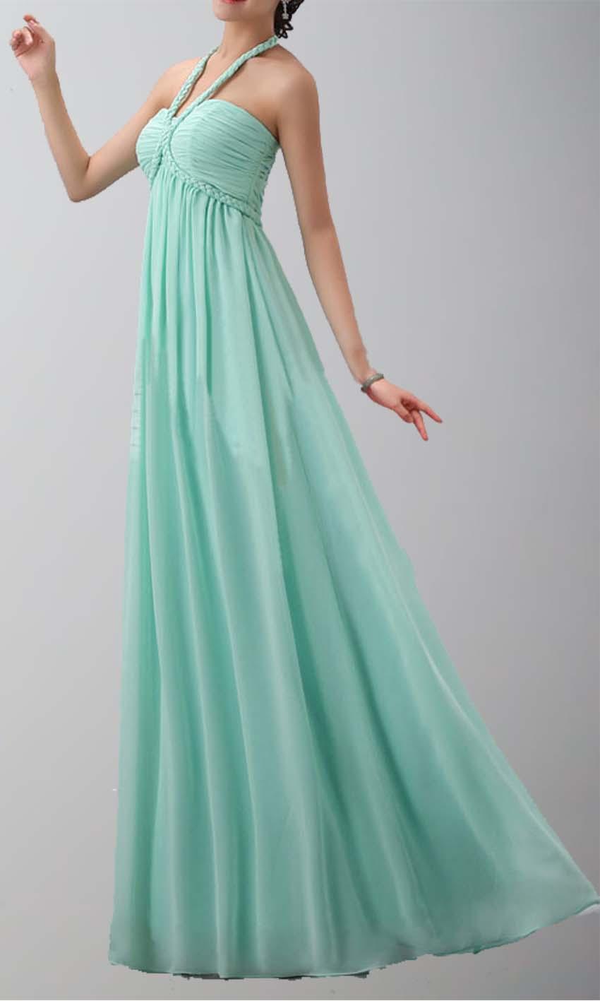 Halter Neck Long Chiffon Prom Dress , long Bridesmaid Dress ,simple ...