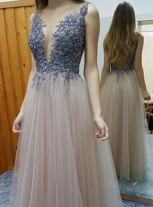 A-line Prom Dresses,Appliques Prom Dress,V-neck Prom Dresses,Beading ...