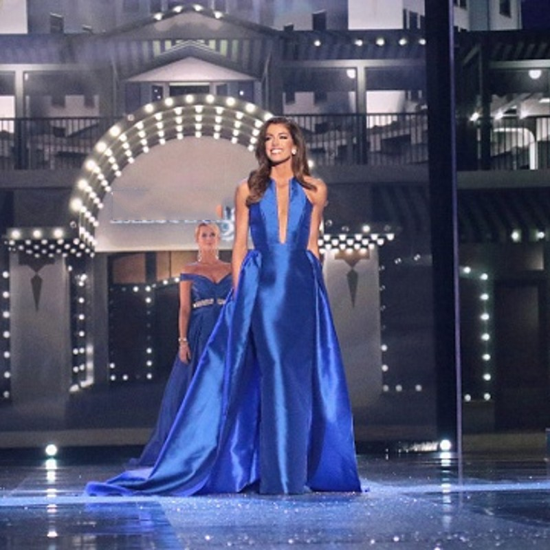 Miss America Long Elegant Evening Dress A Line Royal Blue Pageant ...