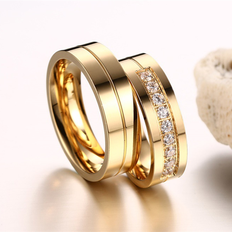 Free Shipping Couples Gold Color Stone Wedding Engagement Rings