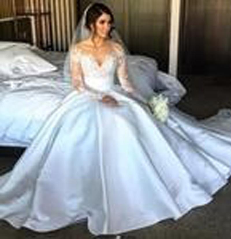 2017 New Full Lace Split Wedding Dresses with Detachable Satin Skirt ...