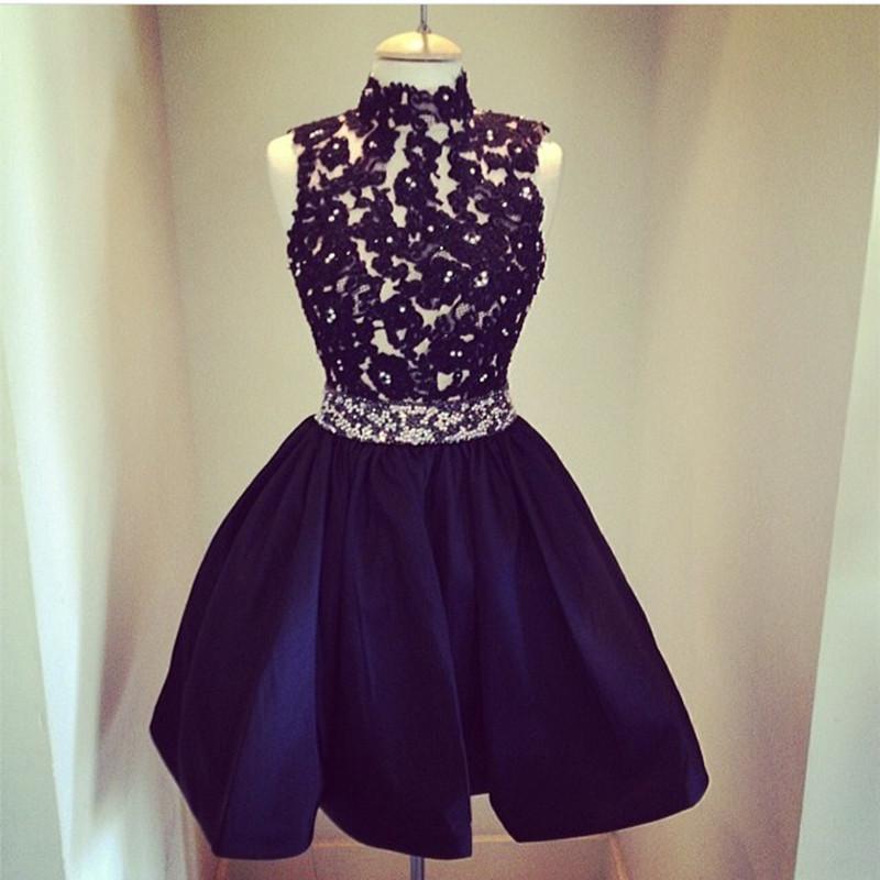 Black Homecoming Dresslace Appliques Prom Short Dressgraduation