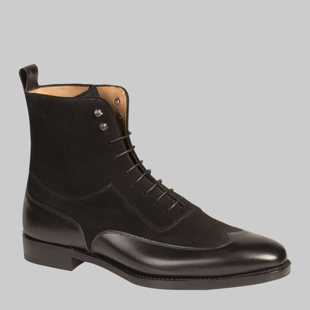 handmade mens black color ankle leather boot mens wing