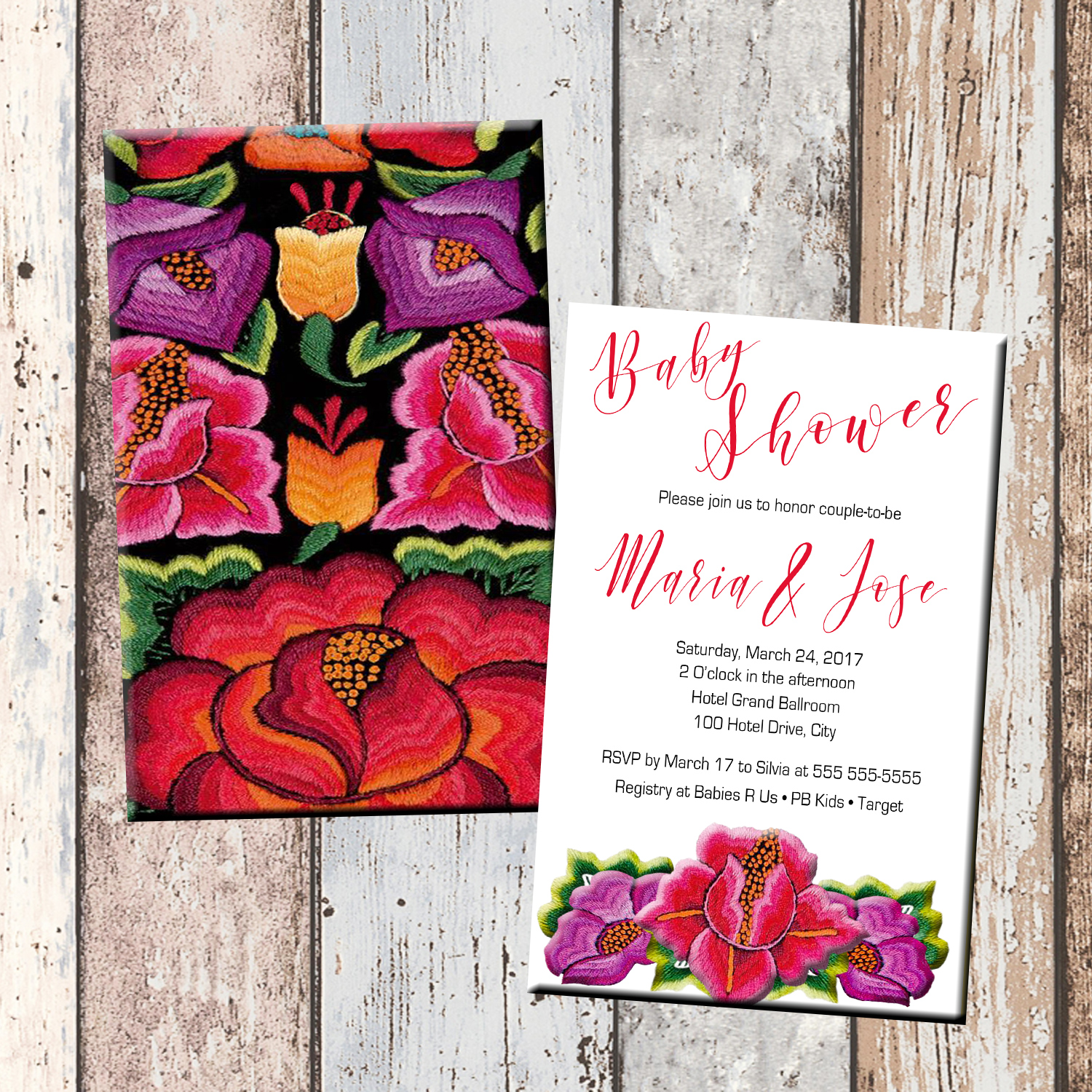 Mexican Flowers Baby Shower Invitation-2 Sided · SCG Designs ·