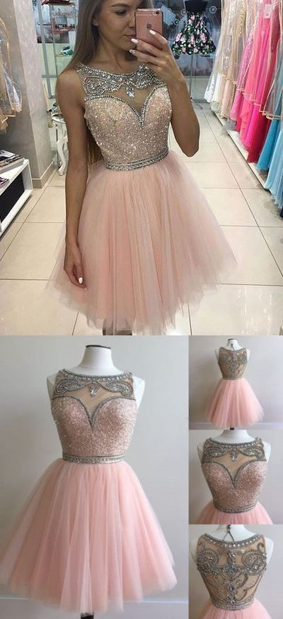 pink tulle beaded homecoming dresses,short prom dresses,party ...