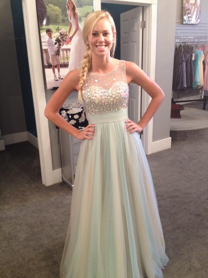 Tulle Prom Dress,Long Prom Dress,Senior Prom Dresses,Illusion Neck ...