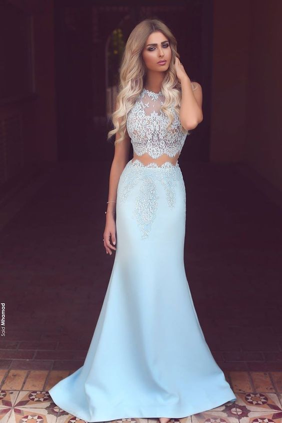 Light Blue Two Pieces Prom Dress with Lace Top · BBTrending · Online ...