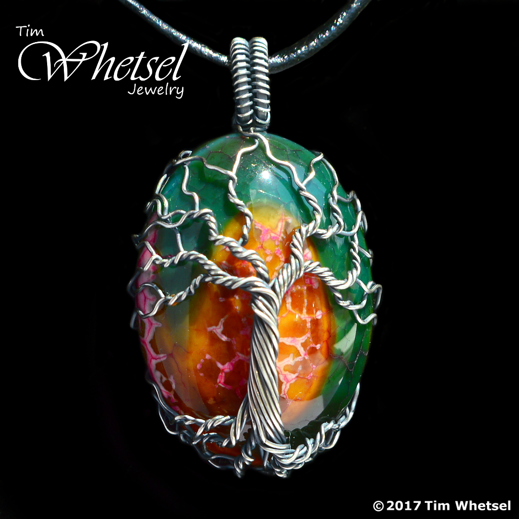 Dragon Vein Agate - Sterling Silver Wire Wrapped Tree of Life ...