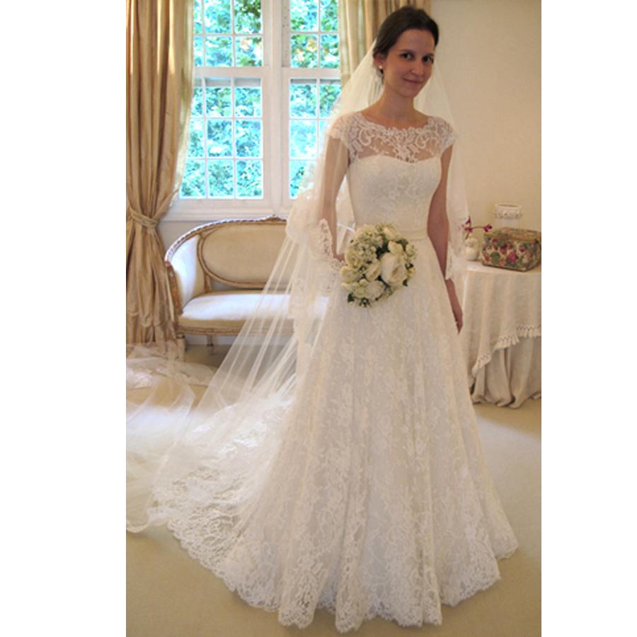 H473 Cap Sleeve Wedding Dresses, Lace Chapel Train Wedding Bridal ...