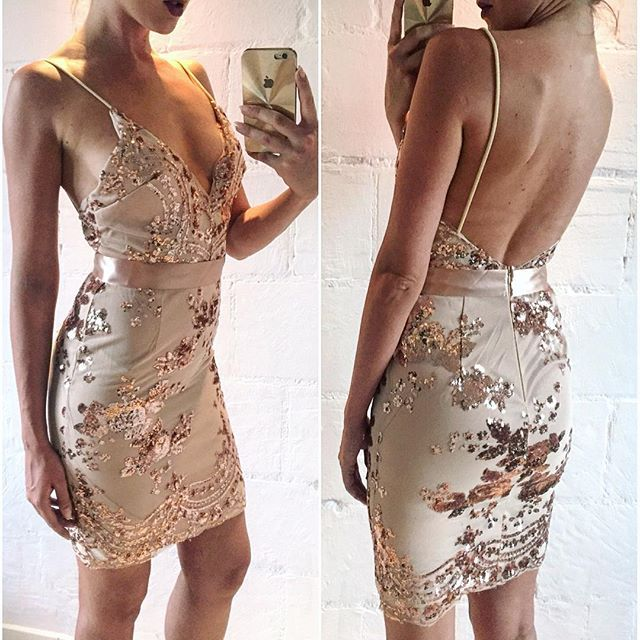 Gold Spaghetti Strap Open Back Sequins Bodycon Dress · wendyhouse ...