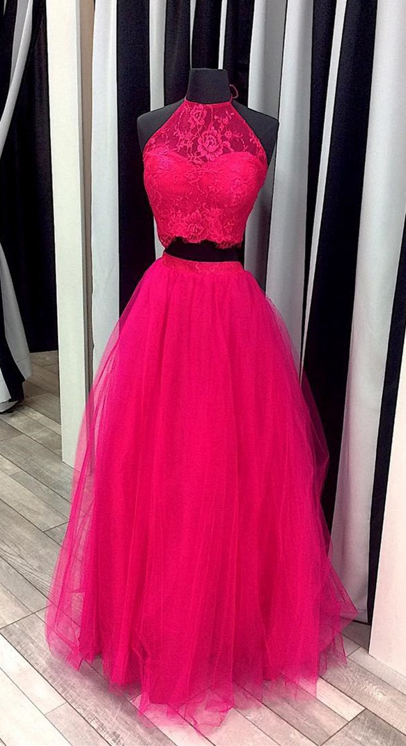 Two Pieces Hot Pink Prom Dress, Prom Dresses,Graduation Party ...