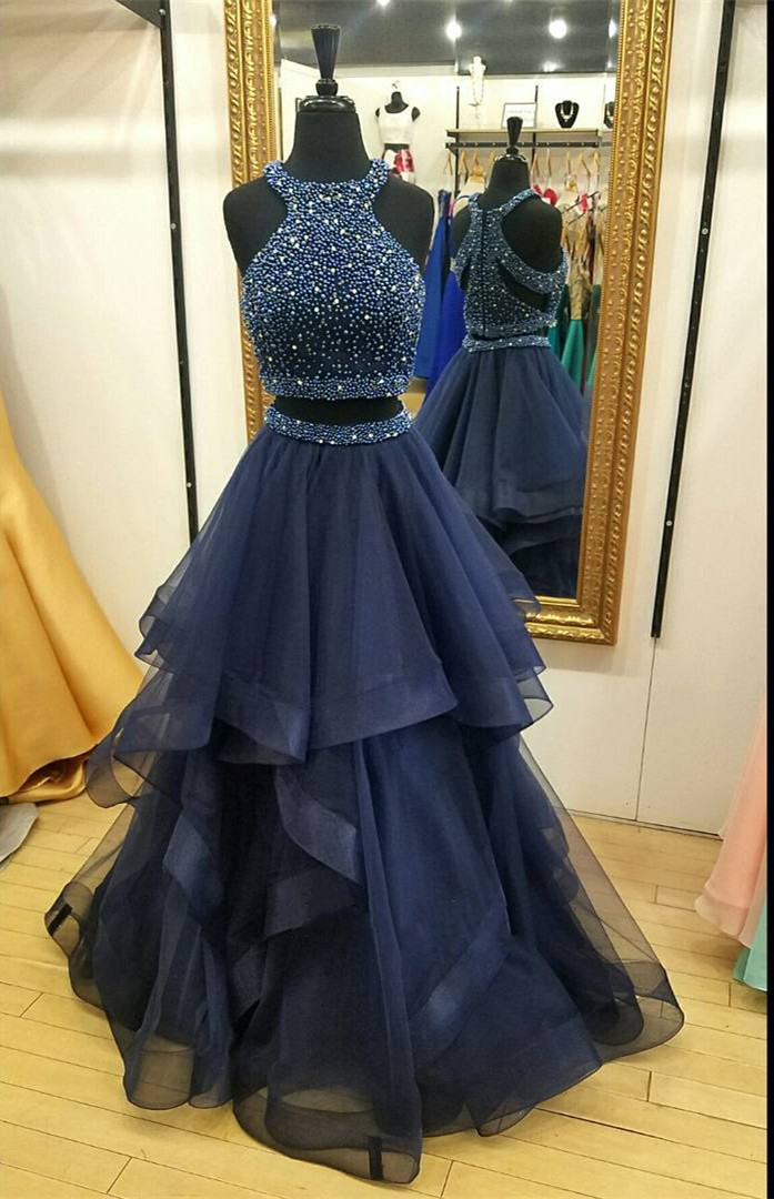 Two Pieces Navy Prom Dress Long, Prom Dresses,Graduation Party ...