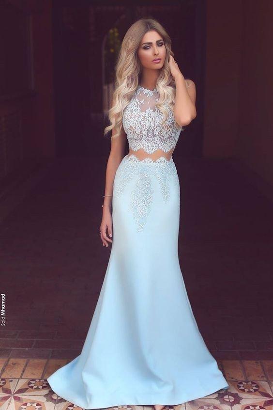 Light Blue Two Pieces Prom Dress, Prom Dresses,Graduation Party ...