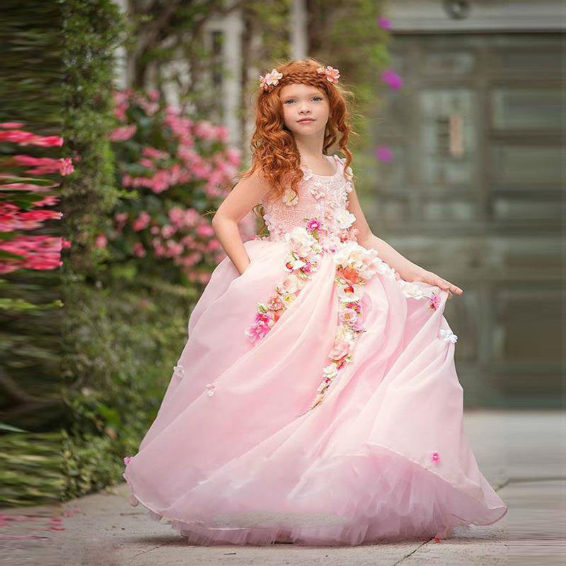 3da948e4bc08 Princess Flowers Pink Flower Girl Dresses Ball Gown Girl Pageant Dresses  Kids Evening Gowns Prom Dress ...