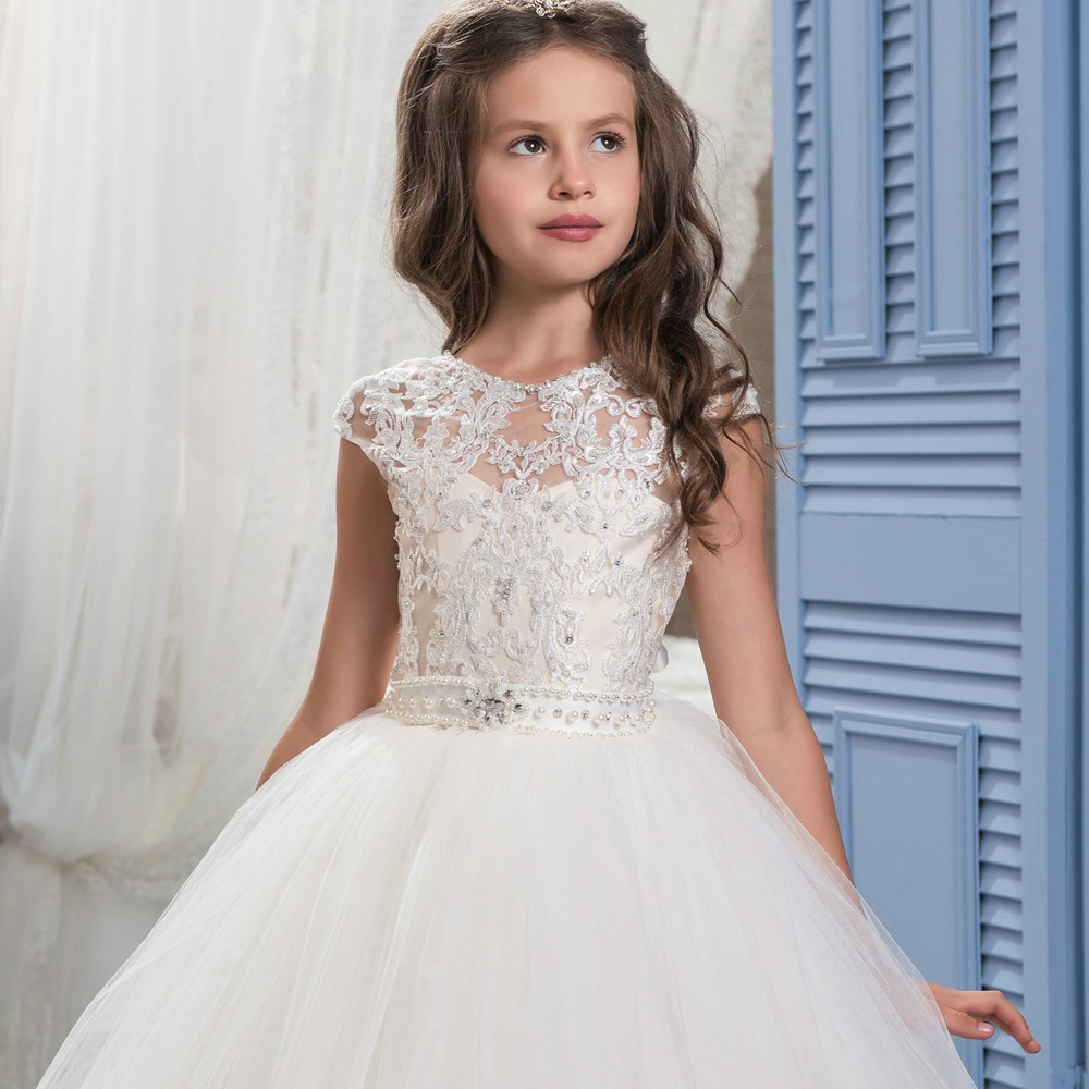 2017 New Princess Ivory Ball Gown Flower Girl Dress Sweep Train