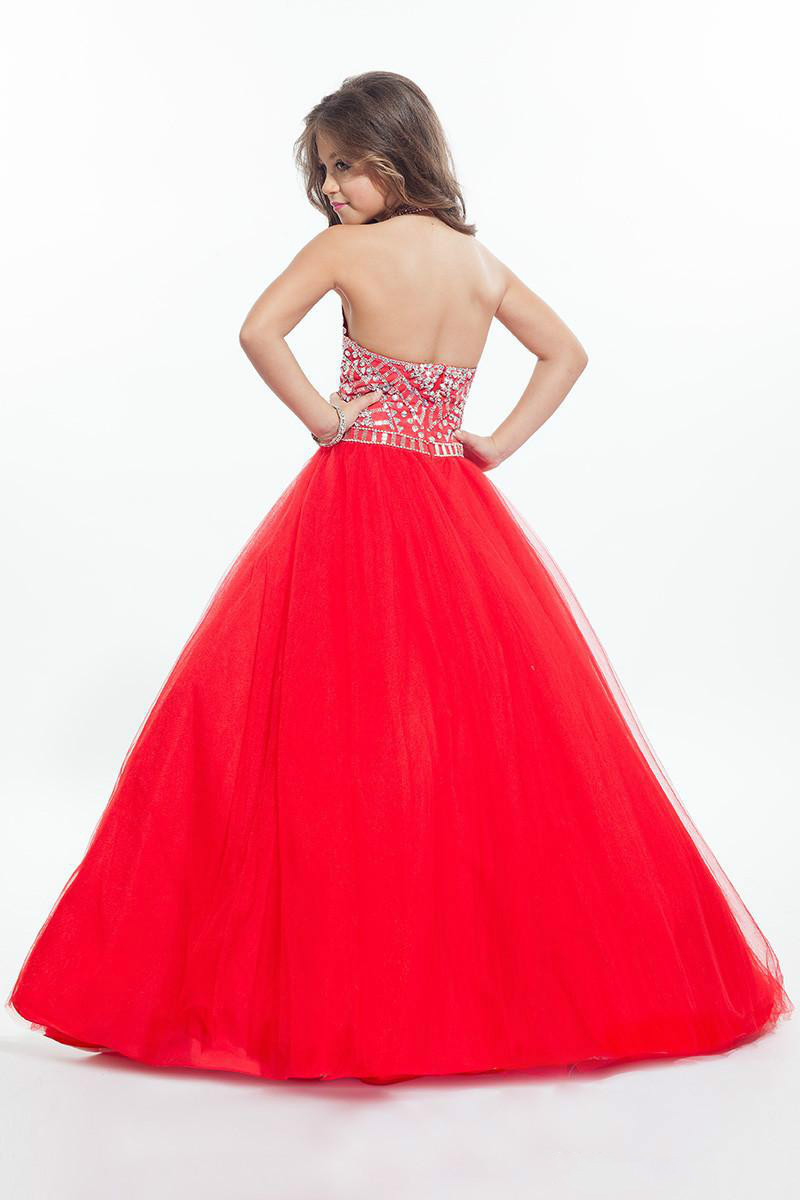 Princess Red Balll Gown Flower Girl Dresses Silver Crystals Girl ...