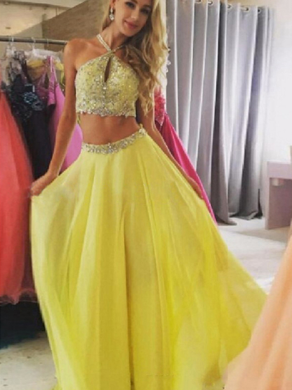 2 Pieces Prom Dresses A Line Halter Floor Length Chiffon Prom Dress