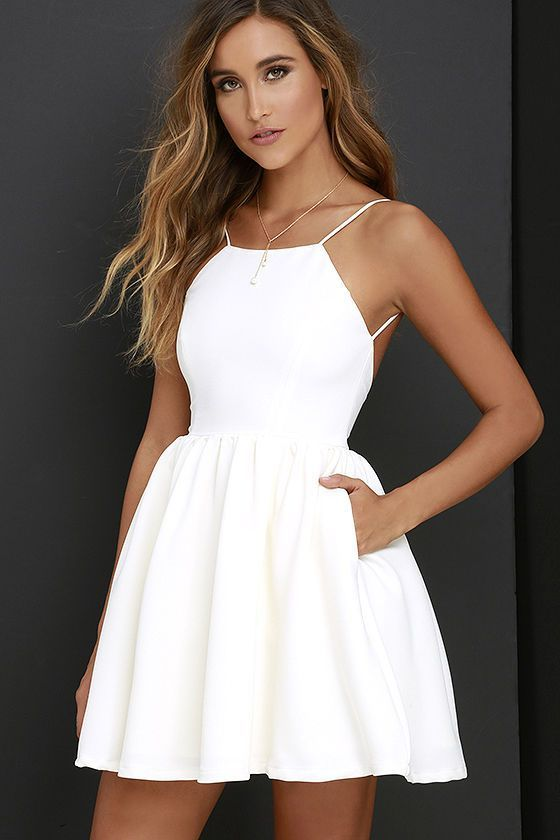 Popular White Short Dress Cheap Dress Mini Simple Sexy