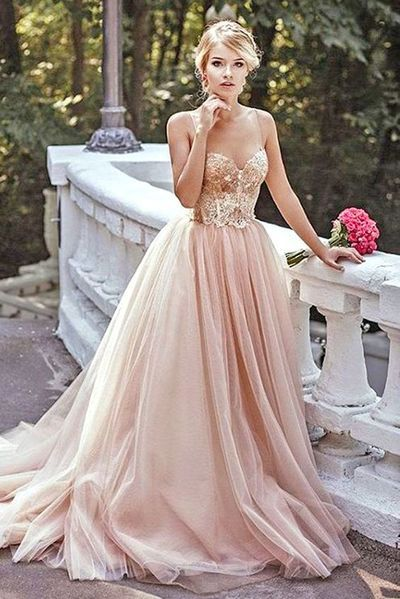 Sexy Blush Prom Dresses with Crystal, Champagne Tulle Princess ...