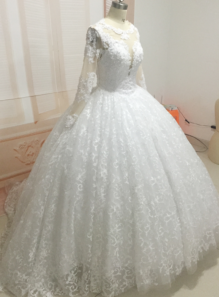 Real Picture Lace Wedding Dresses, Long Sleeve Ball Gown Wedding ...