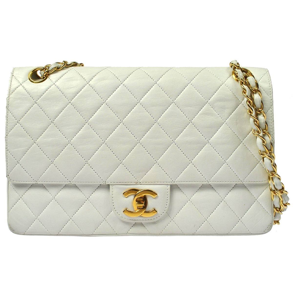Authentic vintage Chanel White quilted flap bag with GHW · Truc De ... : chanel bag white quilted - Adamdwight.com