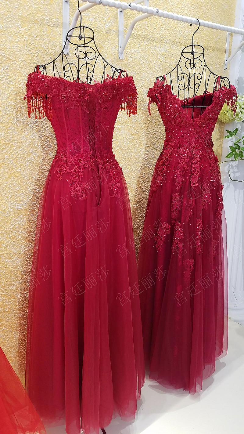 D361 One Boat Neck Red Lace Wedding Dresses, Charming Heavy Handmade ...