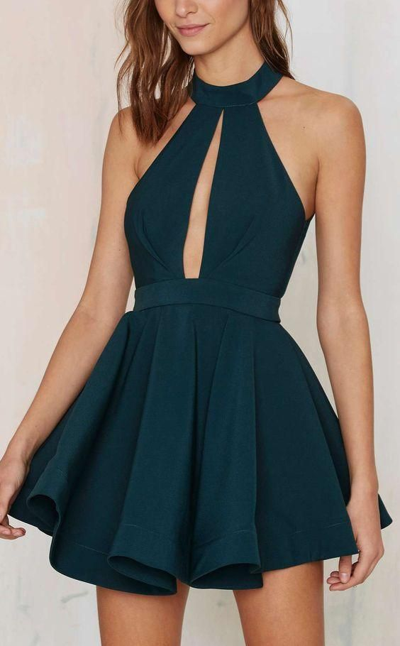 Cheap Homecoming Dresses Cheap 2016 Dark Green Jewel Collar Ruffled
