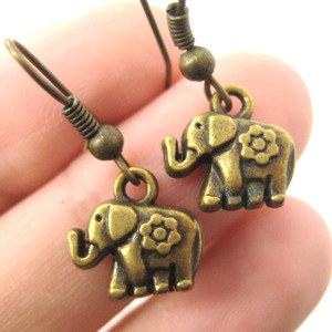 Adorable Elephant Animal Charm Floral Detail Dangle Earrings in Bronze