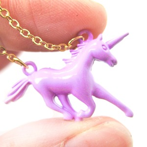 Mythical Creature Unicorn Shaped Pendant Necklace in Pink Purple