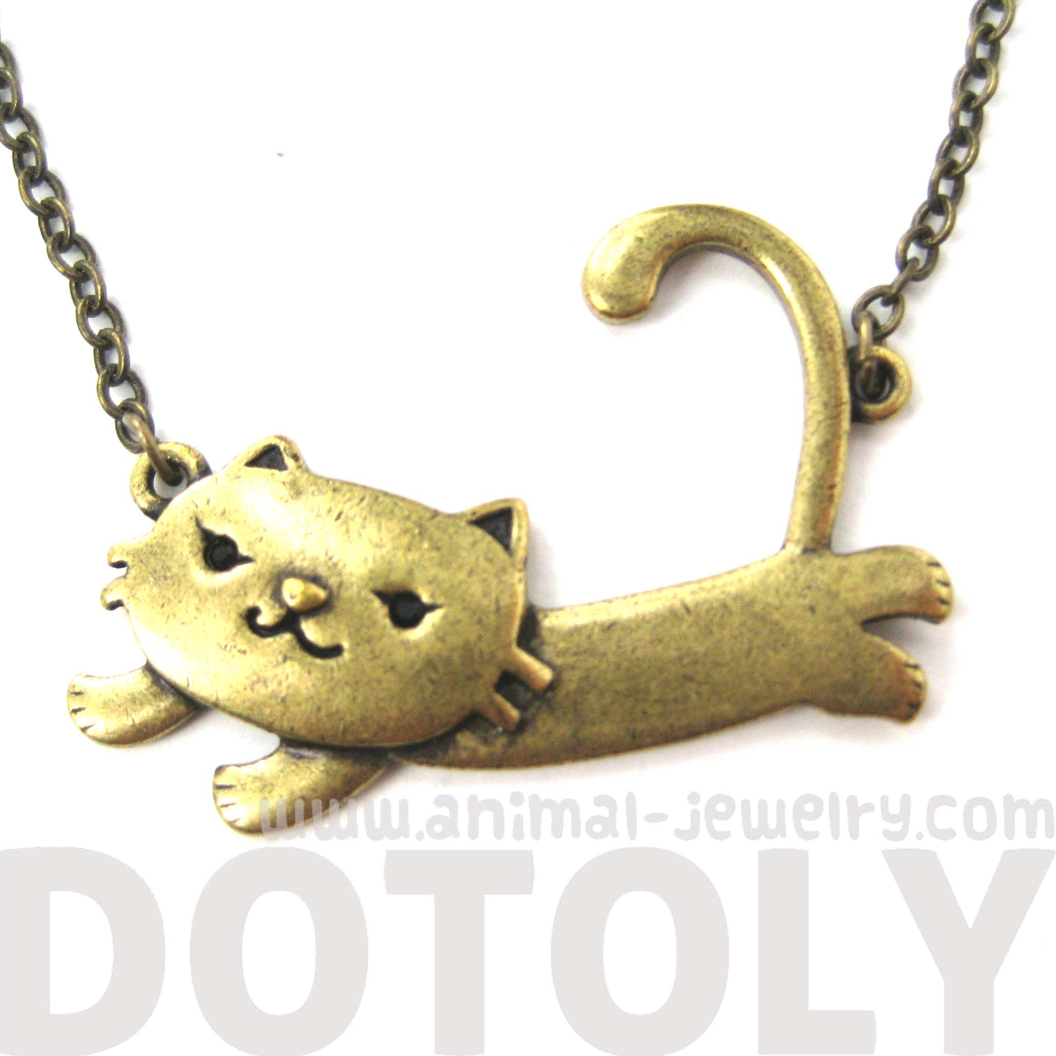 sale adorable cat animal pendant necklace in brass