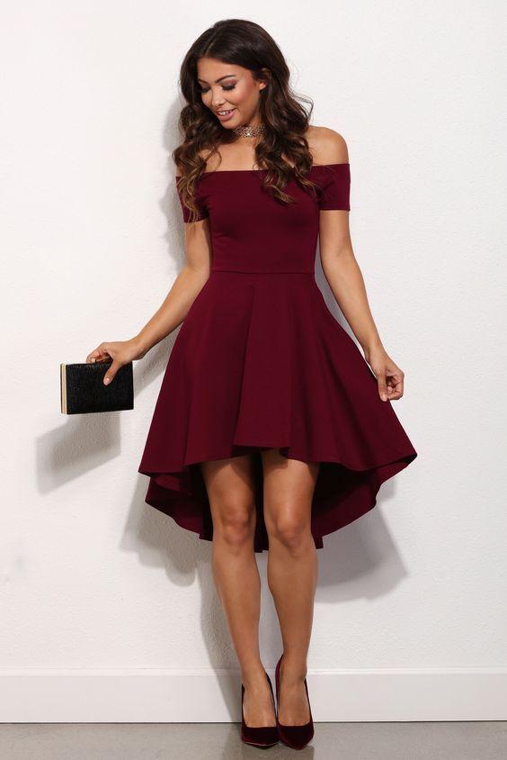 High low Prom Dress,Satin Prom Dresses,Burgundy Homecoming Dress ...