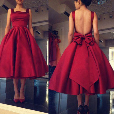 2017 cheap tea length prom dresses gowns short square collar backless red  prom party dresses plus 07111b76a8e3